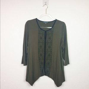 • ADRIANNA PAPELL • Olive Blouse with Embroidery